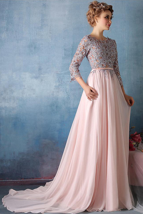 Pink A Line Sweep Train Jewel Neck 3/4 Sleeve Appliques  Cheap Prom Dress,Evening Dress P255 - Ombreprom