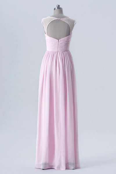 Barely Pink A Line Floor Length Sweetheart Capped Sleeve Keyhole Back Cheap Bridesmaid Dress B181 - Ombreprom