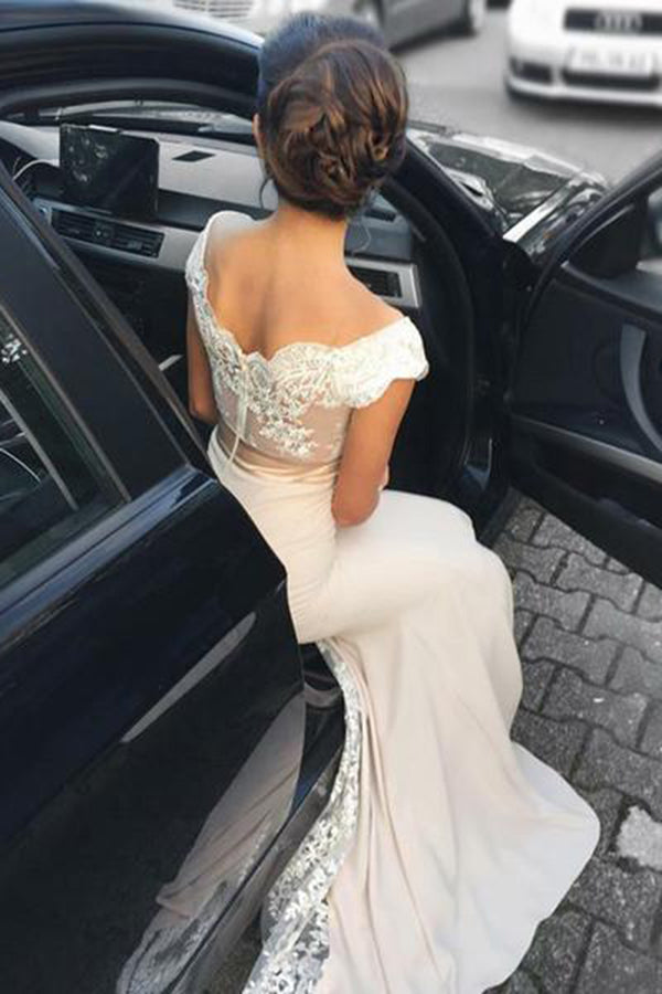 Delicate Mermaid Cap Sleeves Lace Open Back Floor Length Long Prom Dress P815