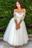 Chic Off the Shoulder Half Sleeves Tulle With Lace Appliques Long Wedding Dress W414