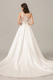 A Line Court Train Sleeveless Sheer Back Appliques Wedding Dress,Perfect Wedding Gowns W277