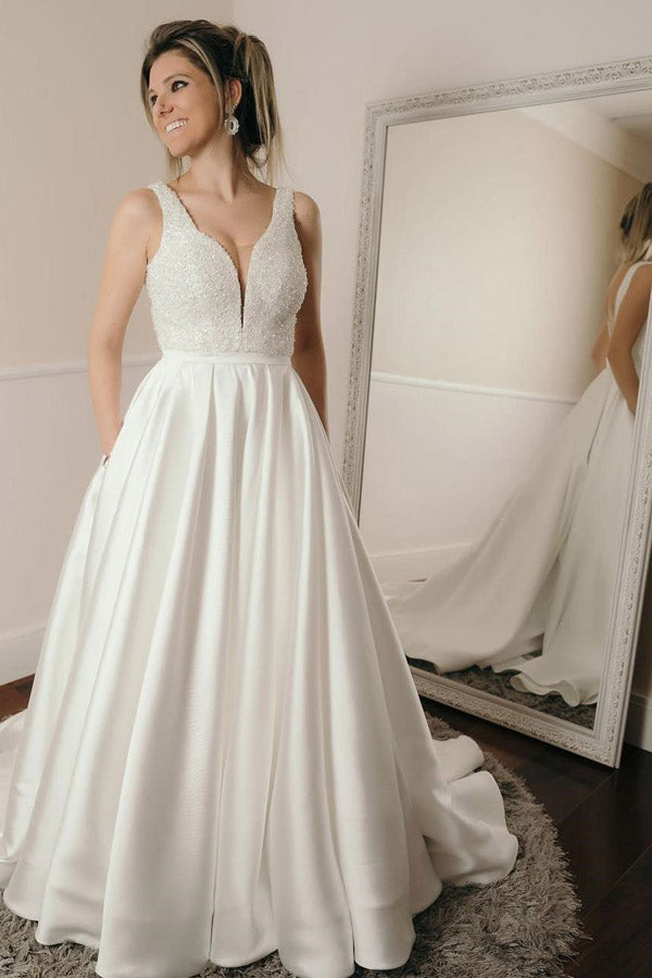 White A Line Court Train Sweetheart Sleeveless Satin Beading Wedding Dress,Beach Wedding Dress W234