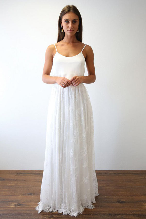 Charming Simple Ivory A Line Spaghetti Straps Lace Beach Wedding Dresses Cheap Bridal Gowns W229