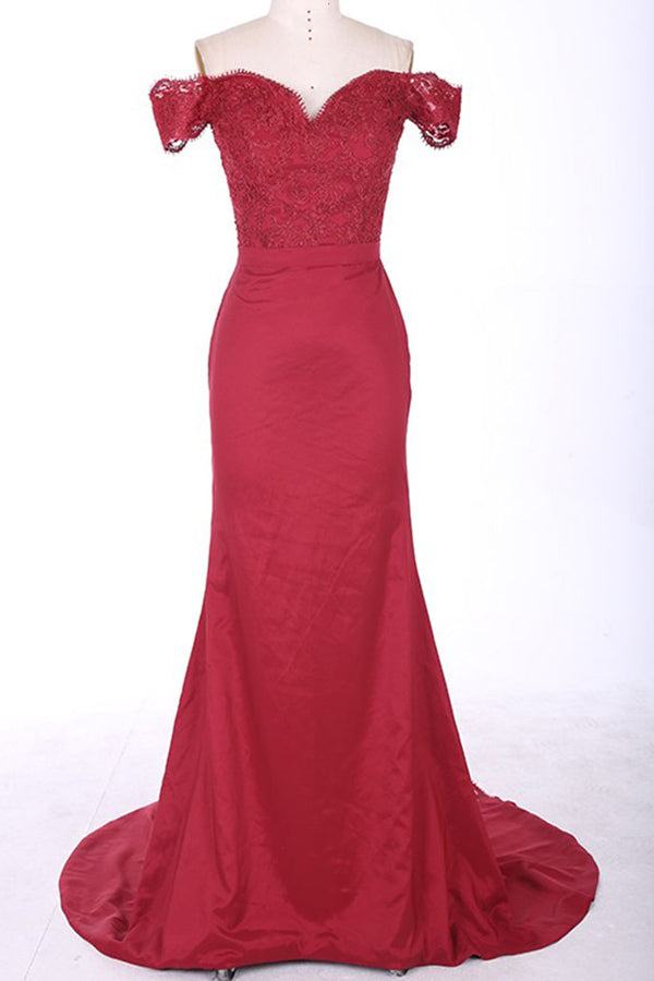 Red Sheath Sweep Train Off Shoulder Mid Back Appliques Prom Dress,Party Dress P118 - Ombreprom