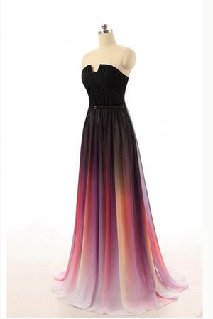 Ombre A Line Sweep Train Strapless Sleeveless Mid Back Prom Dress,Formal Dress O09 - Ombreprom