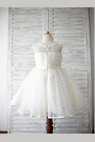 Ivory A Line Floor Length Scoop Neck Sleeveless Flower Girl Dresses,Baby Dress F13