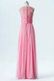 English Rose A Line Floor Length Jewel Neck Sleeveless Appliques Cheap Bridesmaid Dresses OB130 - Ombreprom