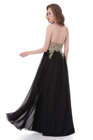 Black A Line Floor Length Halter Sleeveless Mid Back Beading Prom Dress,Formal Dress P279 - Ombreprom