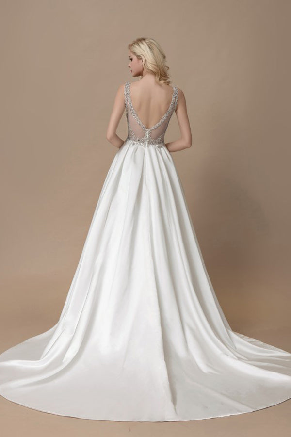 White A Line Court Train V Neck Sleeveless Sheer Back Wedding Gown,Cheap Wedding Dress W167
