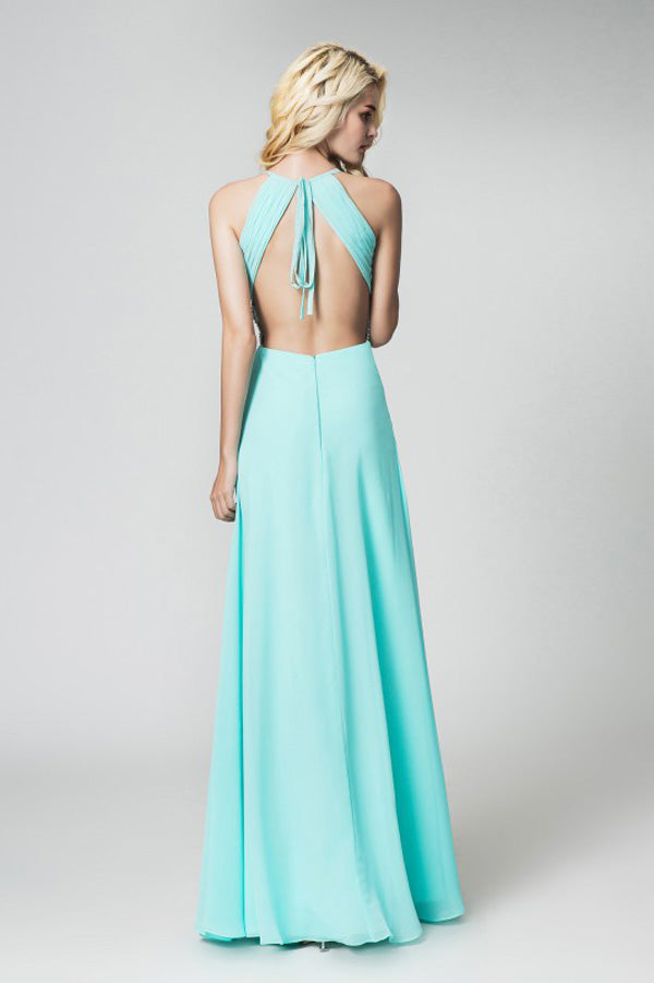 Mint A Line Floor Length Halter Sleeveless Open Back Side Slit Prom Dress,Party Dress P523 - Ombreprom