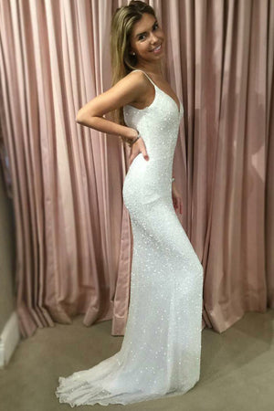 White Sheath Brush Train Sweetheart Spaghetti Sleeveless Sparkle Prom Dress,Party Dress P436 - Ombreprom