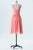 Dusty Coral A Line Knee Length Sheer Neck Sleeveless V Back Cheap Bridesmaid Dresses B161