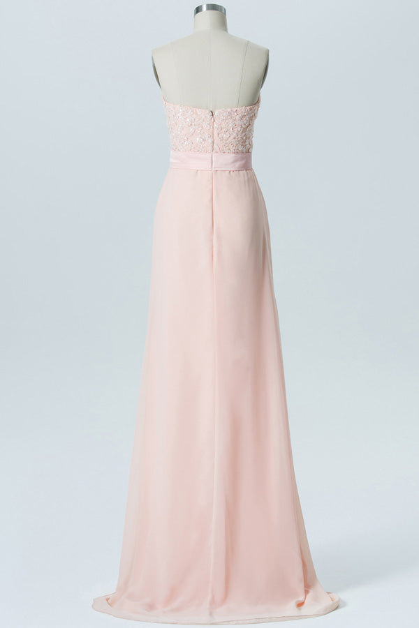 Blush A Line Floor Length Sweetheart Strapless Sleeveless Appliques Cheap Bridesmaid Dresses B176 - Ombreprom