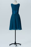 Winter Teal A Line Knee Length V Neck Sleeveless Cheap Bridesmaid Dresses B198
