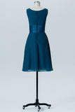 Winter Teal A Line Knee Length V Neck Sleeveless Cheap Bridesmaid Dresses B198 - Ombreprom
