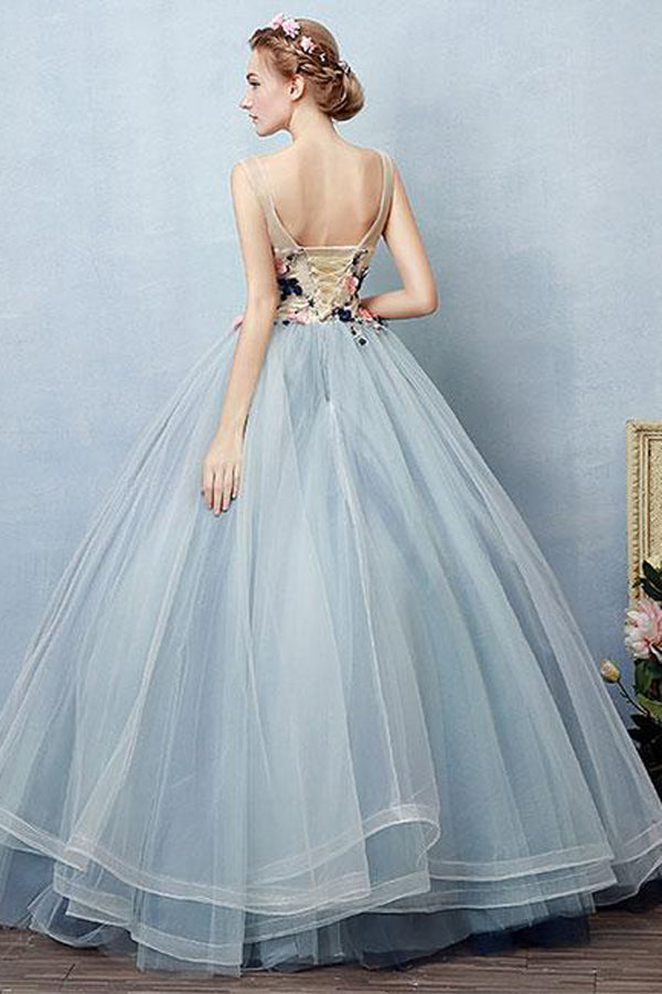Blue Ball Gown Floor Length Sheer Neck Sleeveless Lace Up Floral Prom Dress,Party Dress P406 - Ombreprom