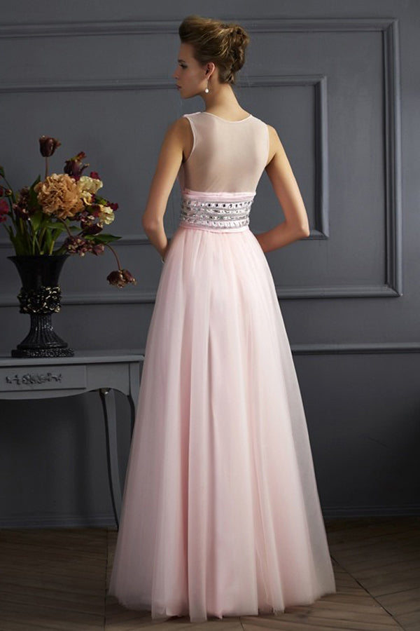 Pink A Line Floor Length Deep V Neck Sleeveless Organza Prom Dress,Party Dress P362 - Ombreprom