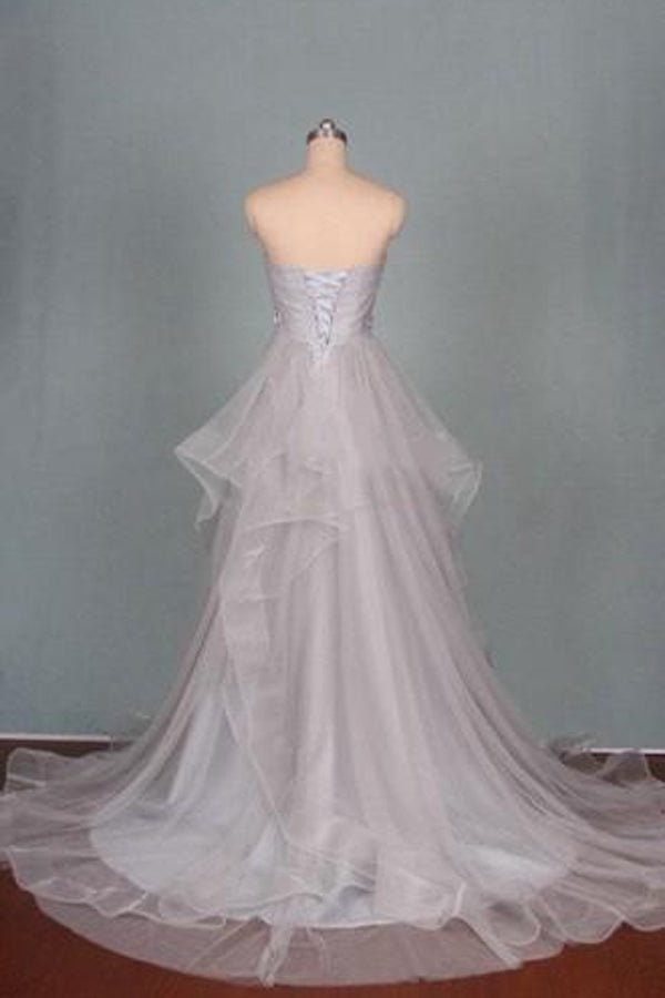 Gray A Line Court Train Sweetheart Sleeveless Mid Back Ruffles Long Prom Dress,Party Dress P190