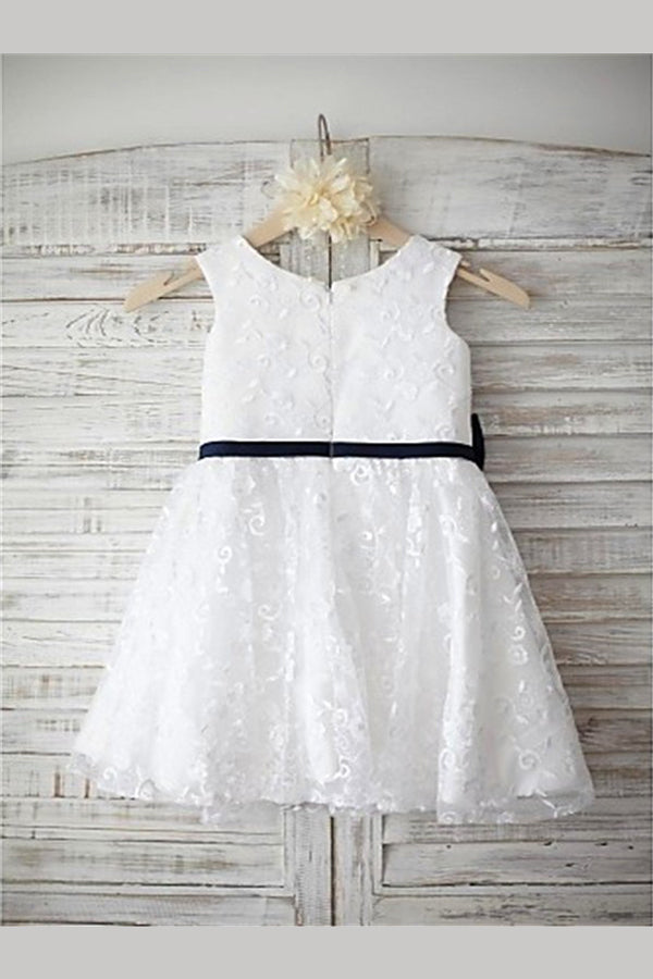 White A Line Floor Length Jewel Neck Sleeveless Bowknet Flower Girl Dresses,Baby Dress F12