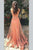 Peach A Line Sweep Train Sheer Neck Sleeveless Backless Appliques Prom Dress,Formal Dress P145 - Ombreprom