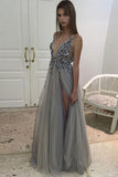 Gray A Line Floor Length Deep V Neck Sleeveless Side Slit Beading Long Prom Dress,Party Dress P222