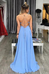 Blue A Line Floor Length Spaghetti Sleeveless Backless Side Slit Long Prom Dress,Party Dress P206 - Ombreprom