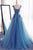 Princess Royal Blue A Line Boat Prom Dress,Floor Length Layers Tulle Mid Back Floral Evening Dress OMP21 - Ombreprom
