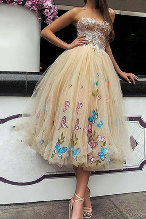 Ball Gown Tea Length Sweetheart Sleeveless Layers Floral Prom Dress,Party Dress P373 - Ombreprom