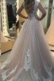 Pink A Line Sweep Train Sleeveless Mid Back Lace Up Appliques Long Prom Dress,Party Dress P234 - Ombreprom
