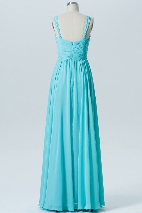 Pool Blue A Line Floor Length Curve Neck Mid Back Cheap Bridesmaid Dresses B196 - Ombreprom
