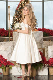 A Line Tea Length Off Shoulder Lace Up Wedding Dress,Beach Wedding Dress W266