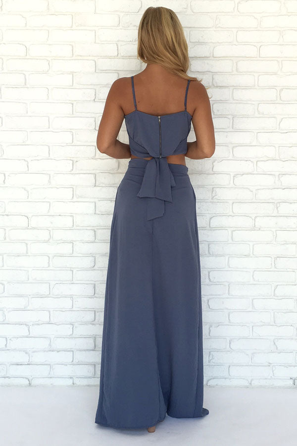 Navy Blue Two Piece A Line Floor Length Side Slit Chiffon Prom Dress,Party Dress P411 - Ombreprom