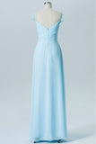 Pastel Blue A Line Floor Length Sweetheart Lace Capped Sleeve Open Back Cheap Bridesmaid Dress B180 - Ombreprom