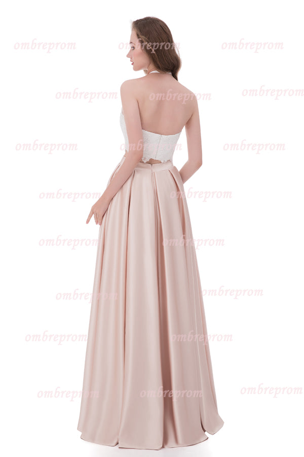 Pink Two Piece A Line Halter Sleeveless Backless Lace Cheap Prom Dress,Formal Dress P261 - Ombreprom