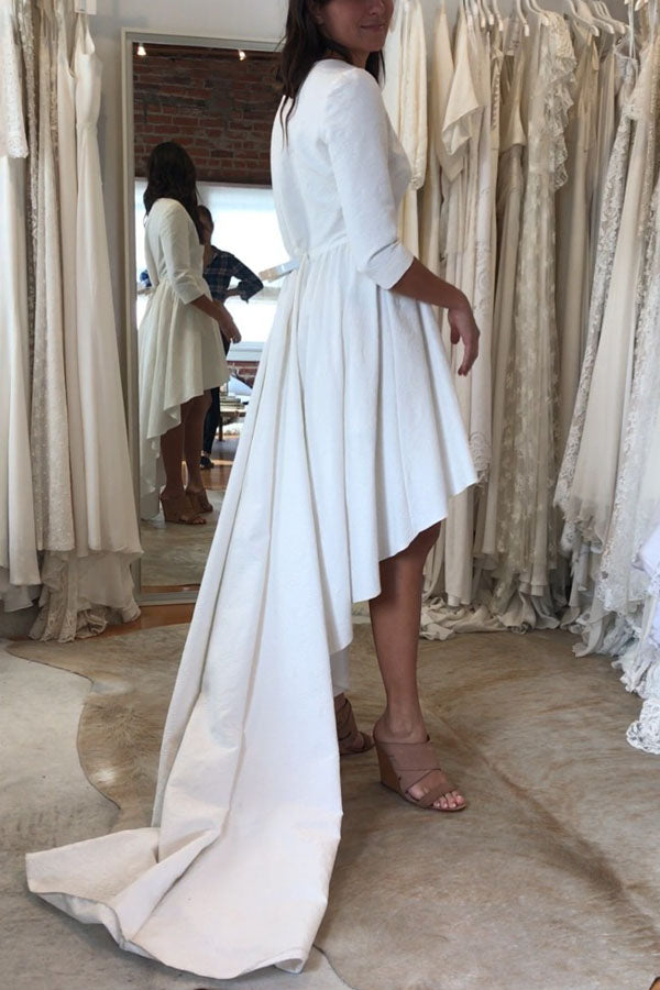 White A Line Asymmetrical 3/4 Sleeve Satin Wedding Dress,Beach Wedding Dress W227