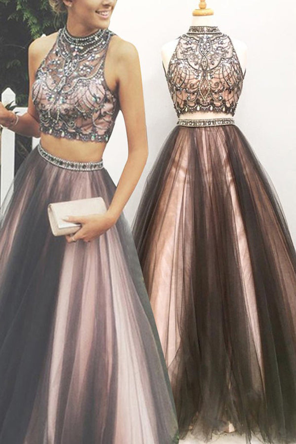 Two Piece A Line Halter Sleeveless Keyhole Back Beading Evening/Prom Dress P79 - Ombreprom