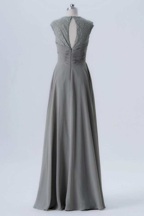 Steel Grey A Line Floor Length Sweetheart Capped Sleeve Lace Appliques Cheap Bridesmaid Dresses B155