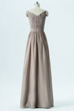 Sand A Line Floor Length Sweetheart Capped Sleeve V Back Cheap Bridesmaid Dresses B167 - Ombreprom