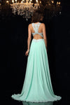 Mint A Line Sweep Train Sleeveless Keyhole Back Appliques Chiffon Prom Dress,Party Dress P313 - Ombreprom
