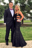 Black Trumpet Floor Length Sweetheart Lace Prom Dress,Formal Dress P142 - Ombreprom