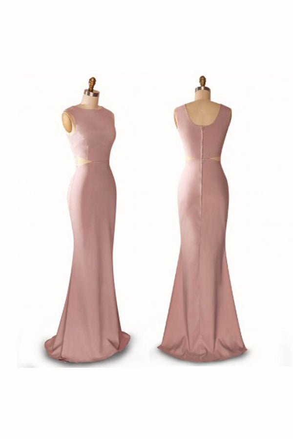 Pearl Pink Sheath Sweep Train Jewel Neck Sleeveless Open Back Prom Dress,Party Dress P343 - Ombreprom