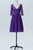 Royal Purple A Line Knee Length Sheer Neck 3/4 Sleeve V Back Cheap Bridesmaid Dresses B173 - Ombreprom
