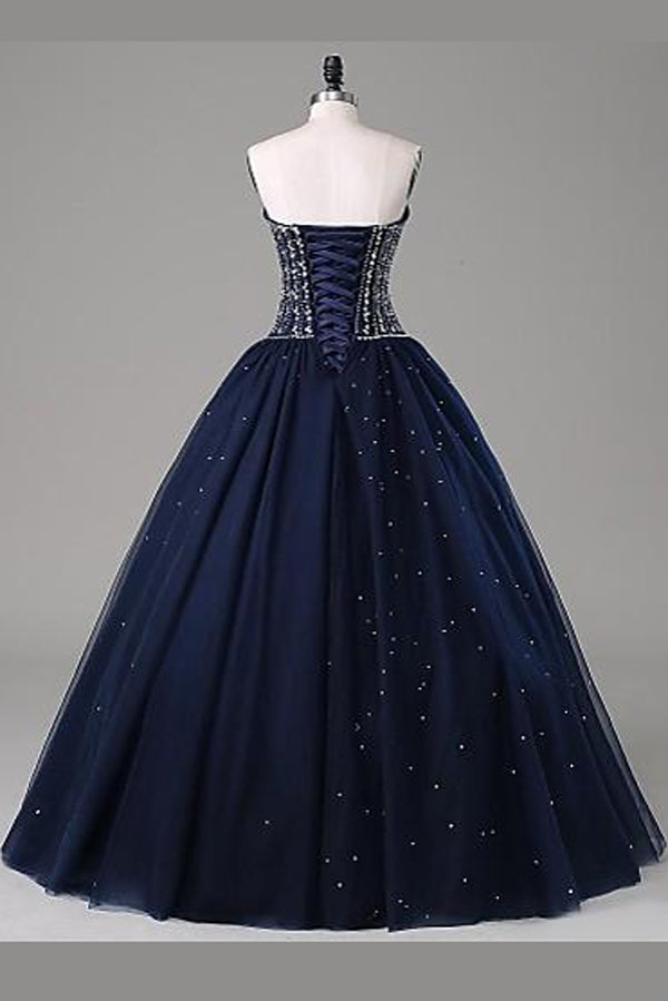 Navy Blue Ball Gown Floor Length Sweetheart Sleeveless Mid Back Prom Dress,Party Dress P169 - Ombreprom