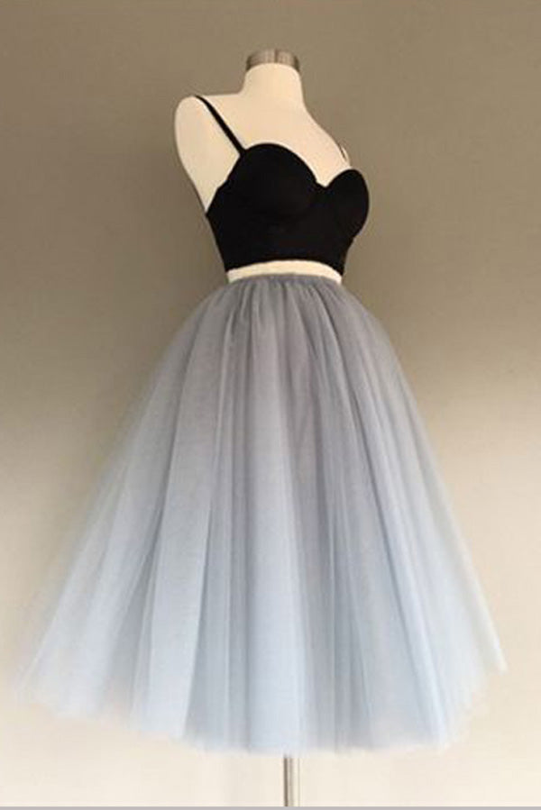 Two Piece Sweetheart Spaghetti Homecoming Dress,Gray Tulle Short Prom Dress H191