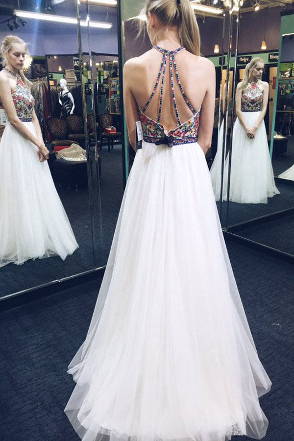 White A Line Brush Train Halter Sleeveless Layers Tulle Embroidery Prom Dress,Party Dress P441