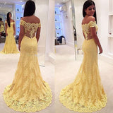 Yellow Trumpet Sweep Train Off Shoulder Sheer Back Appliques Evening/Prom Dress P69 - Ombreprom
