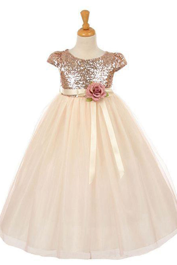 Short Sleeves Round Neck Tulle With Sequins Flower Girl Dresses F73