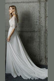 White Two Piece A Line Sweep Train Half Sleeve Lace Wedding Dress,Beach Wedding Dress W200 - Ombreprom