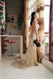 Golden Sheath Sweep Train Deep V Neck Sleeveless Backless Sparkle Long Prom Dress,Party Dress