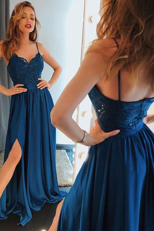 Chic Spaghetti Straps Dark Blue V Neck Lace Prom Dress P696